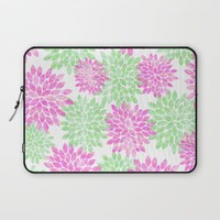 pink and green flowers Laptop Sleeve by Sylvia Cook Photography