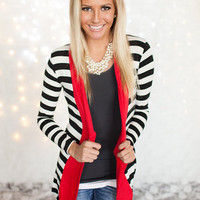 BLACK FRIDAY Hint of Red Striped Cardigan