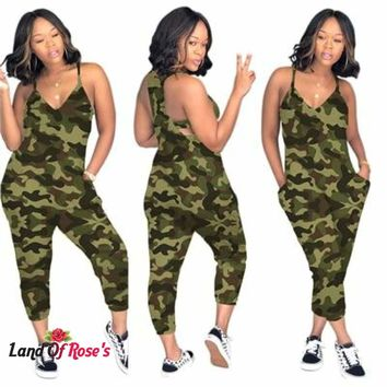 Plus Size Camo Jumpsuit V Neck Spaghetti Straps Pockets Casual Romper