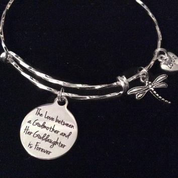 The Love Between a Godmother and Goddaughter is Forever Expandable Silver Charm Bracelet