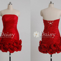 2013 Red Short Prom Dress with Floral Details by DaisyBridalHouse