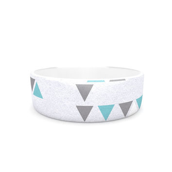 "Nick Atkinson ""Triangle Love II"" Gray Teal Pet Bowl"