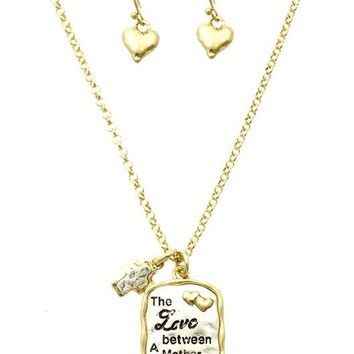 Sliver Mother Daughter Charm Necklace And Earring Set