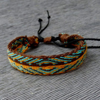 weaving bracelet, table weave woven friendship braclet, brown, yellow wrist band, handmade wrist cuffs, boho ethnic jewelry, arm band