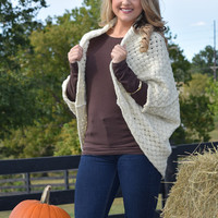 fall in love shawl, beige cable knit