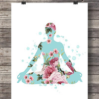 Yoga art print | Floral yoga pose art | Pilates art Printable | meditation mint pink flowers | yoga wall art | inhale exhale | gym decor