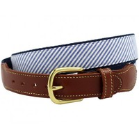 Leather belt in Blue Seersucker by Just Madras