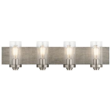 4-light Pewter Modern Bath/Vanity Light (Grey) Rustic