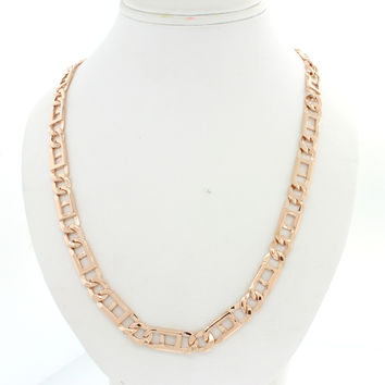 "Men's Modern 14k Solid Rose Gold 27"" Figaro Anchor 8mm Link Chain Necklace 68.3g"