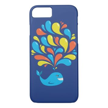 Blue Cute Colorful Cartoon Happy Whale iPhone 7 Case