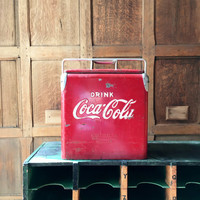 Vintage Coca Cola Cooler, Small Coke Cooler, Coca Cola Collectibles, Metal Coke Cooler, Beer Cooler