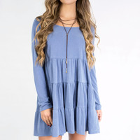 Endless Joy Slate Blue Peasant Dress