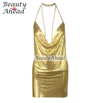 2016 Kendall Jenner 21st Birthday Outfits Love Sexy Halter Sleeveless Metal Party Dress Gold Backless Sequins Dresses Vestidos