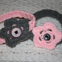 SALE BOGO Gray and Light Pink Headband Sized Newborn with Bling- Adult headband- Ready to ship, Photo Prop Pick one, or set