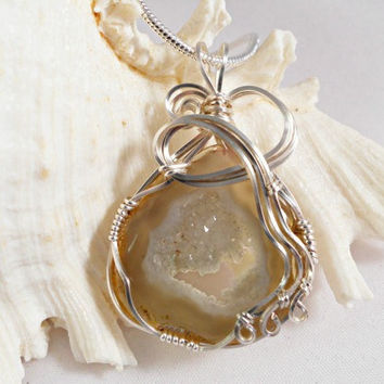 Druzy Jewelry, Wirewrapped Pendant, Light Brown Druzy Agate, Wire Wrapped Necklace