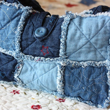 Denim Handmade Rag Quilt Purse by TheRagPatch on Etsy
