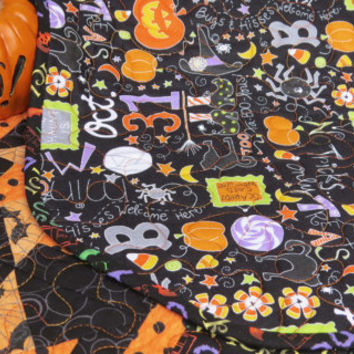 Quilted Halloween Table Runner Hocus Pocus Orange Black 635