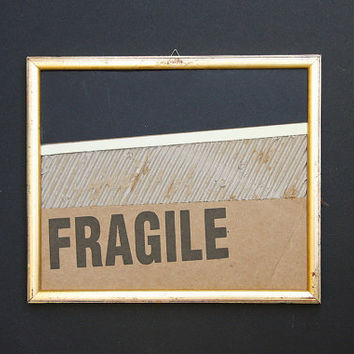 Art recycle of corrugated fiberboard with gold frame