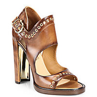 Salvatore Ferragamo - Narny Grommet Leather Sandals - Saks Fifth Avenue Mobile