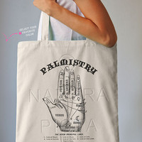 Palmistry hand guide tote bag-chiromancy bag-astrology tote-custom tote-school tote-shopping bag-palm reading tote-by NATURA PICTA NPTB057