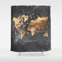 world map 147 gold black #worldmap #map Shower Curtain by jbjart