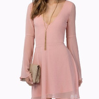 Bell Sleeve V-Neck Chiffon Mini Dress