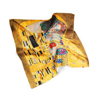 Gustav Klimt The Kiss Silk Scarf Bandana Scarf Women Scarf Gift For Men Scarf Spring Scarf Summer Scarf Birthday Gift For Mother Hair Scarf