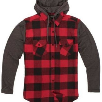 Men's Hooded Flannel Button Down 100% Cotton Shirt in Red