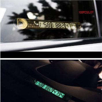 100pcs Car Styling Temporary Car Parking Card Luminous Car Phone Number Card Telephone Number Card Night Light 15*2cm