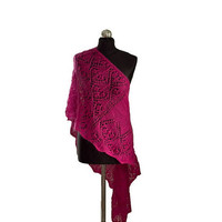 Raspberry Shawl, Hand Knitted Long Lace Wrap