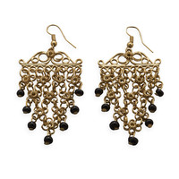 Gold Tone Flower Design Fashion Earrings with Black Bead Drops