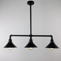 Black Antique Rustic Metal Shade Hanging Ceiling Pendant Light Max. 120W with 3 Lights