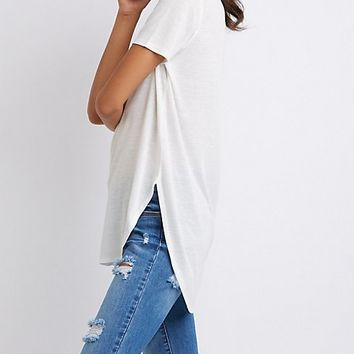 Scoop Neck Curved Hem Tee | Charlotte Russe