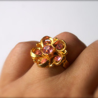 Pink Flower Ring Adjustable Vintage Rhinestone Gold Tone Ring