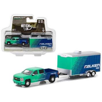 2015 Chevrolet Silverado Pickup Truck Falken Tires and Enclosed Car Hauler Hitch & Tow Series 11 1/64 Diecast Car Model by Greenlight