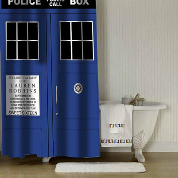 "tardis dr who shower curtain adorabel batheroom in Size : 36"" x 72"",48"" x 72"",60"" x 72"" & 66"" x 72""."