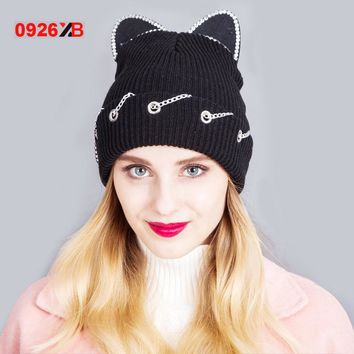 0926XB Women Winter Woolen Knitting Beanie Devil Horns Cat Ear Crochet Braided Knitted Fur Cap Noverlty Girls Hat XB-D670
