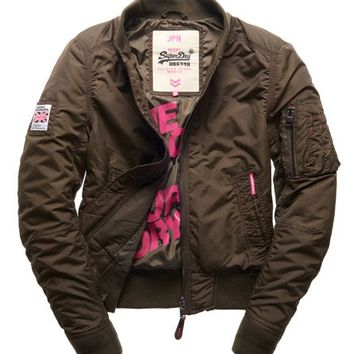 Womens - RSD Lite Pilot Jacket in Deep Khaki | Superdry