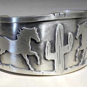 Horse Bracelet Handcrafted in 925 Sterling Silver – Reflections of an Artist's Home Town in Horse Country, Cave Creek Arizona