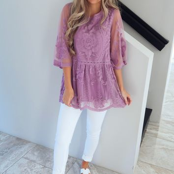 Waiting On This Moment Top: Dusty Lilac