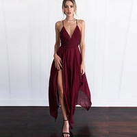 Backless V Neck Irregular Maxi Dress