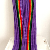 READY TO SHIP. Extra Long Crochet Rasta Scarf. Pan African Scarf. Rastafarian Crochet Scarf