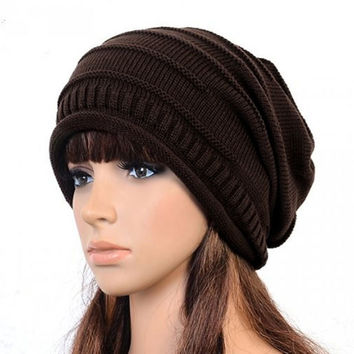 Hot New winter Gorro de lana Knitted baggy crochet cap women Beret beanie hat bonnets femme touca hip hop cap turban hat W1