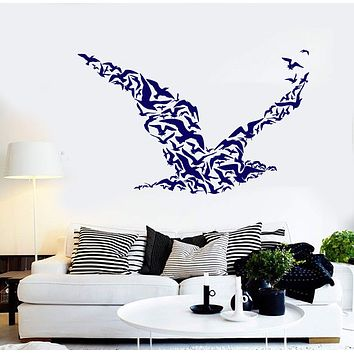 Vinyl Wall Decal Flock Birds Animals Nature Beach Style Gull Stickers Unique Gift (909ig)