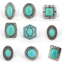 Solid Zinc Bohemian Boho Rings with Turquoise Beads
