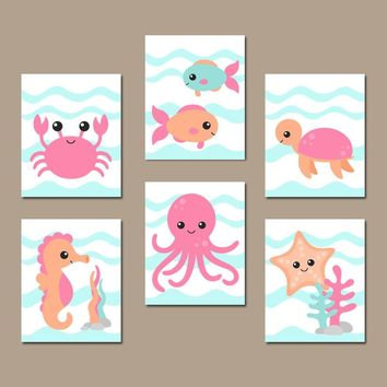 GIRL OCEAN Animals Wall Art, Nautical Nursery Decor, Girl Ocean Animals, Girl Bathroom, Under the Sea Animals, CANVAS or Print, Set of 6
