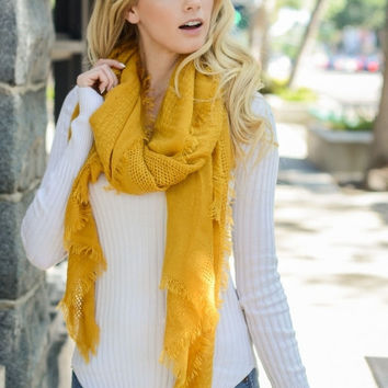 Mustard Open Grid Scarf with Frayed Edges
