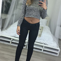Wild Is The Wind Marled Gray Open Knit Sweater Crop Top