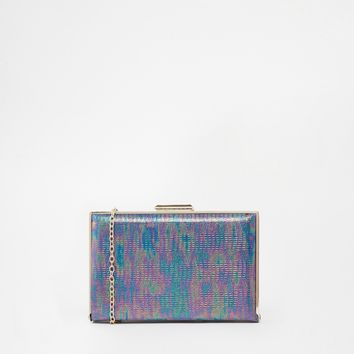 Iridescent Croc Box Bag