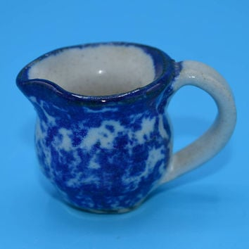 Blue & White Miniature Pitcher Vintage Dollhouse Blue and White Pottery Jug Mini Cobalt Blue Creamer Gift for Her Mothers Day Gift